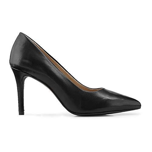 Cox Damen Klassik-Pumps aus Leder, Elegante High-Heels in Schwarz mit Pfennig-Absatz Schwarz Leder 39
