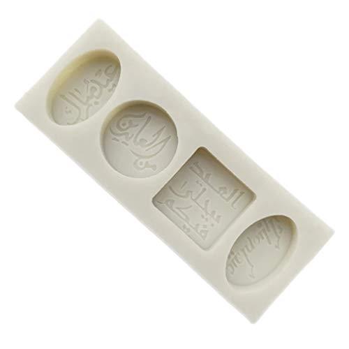 Myya Ramadán Árabe Bendición Texto Juramento Mubarak Pastel Biscuit Molde Fondant Forma Bizcocho Chocolate Candy Craft Molde de Silicona DIY Herramientas para Hornear Decoración
