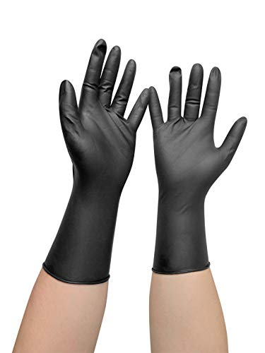 Comair 3010453 Vinyl Handschuhe klein puderfrei langer Schaft, 100 Stück, schwarz