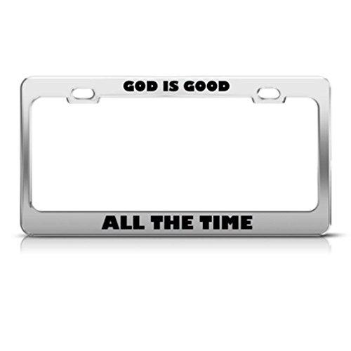 Dieu est bon religieux Cadre étiquette en métal inoxydable support de plaque d'immatriculation