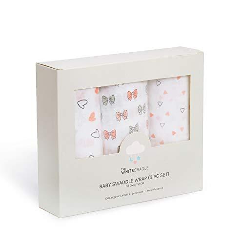 The White Cradle Mantas de Muselinas de Algodón Orgánico puro para Bebé, 112x112 cm, Extra Grandes - 3 diseño rosado, súper suave y absorbente, toalla para recien nacido, Paquete de 3