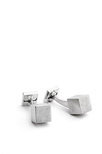 Ike Behar Men's Sukver Tone Cube Cufflink, color Silver, talla Una talla