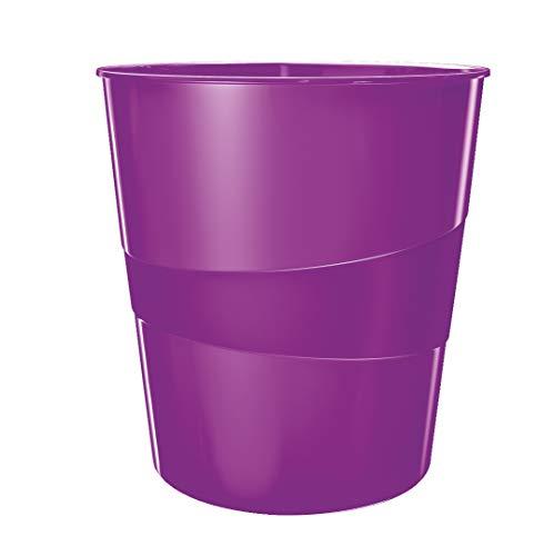 Leitz Papierkorb, 15 Liter, Kunststoff, Violett Metallic, WOW, 52781062