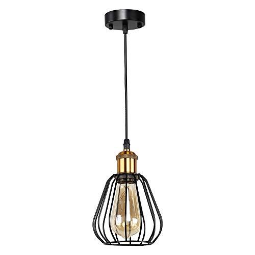 MantoLite Accesorio de Iluminación Colgante Vintage con Pantalla de Jaula de Metal Estilo Industrial Retro Para Casa de Campo Bar E27 Cabeza de Lámpara de Latón de Techo Negro (Bombilla No Incluida)
