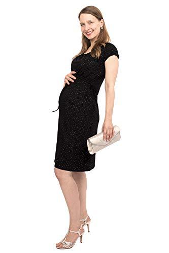 Viva la Mama -Umstandskleid festlich schwarz Kleid für Fotoshooting schwanger Stillkleid Sommer ELLI schwarz Punkte Silber - S