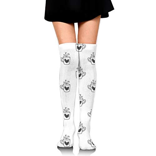 Wfispiy Over-the-Knie-Socke Hand gezeichnet niedlichen Valentinstag Becher Herzmuster 60cmKnee High Compression Socken für Männer & Frauen - am besten zum Laufen