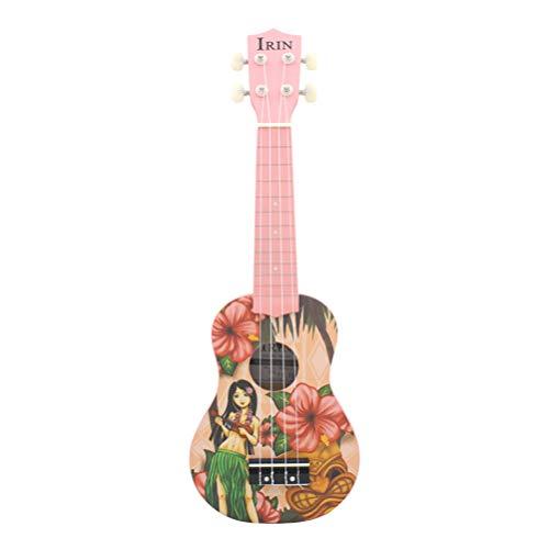 HEALLILY Concierto Ukelele 21 Pulgadas Starter Small Guitar 4 Cuerdas Caoba Instrumento Musical con Púas de Correa Bolsa de Transporte para Niños Ukelele Uke Hawaii Mini Guitar Girl