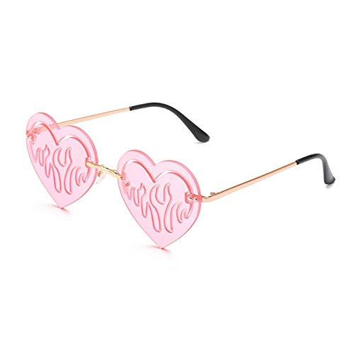 ZZOW Gafas De Sol con Forma De Corazón De Amor Único A La Moda para Mujer, Gafas De Sol Vintage Sin Montura Huecas con Lentes De Océano Transparentes para Hombre, Gafas De Sol para Hombre