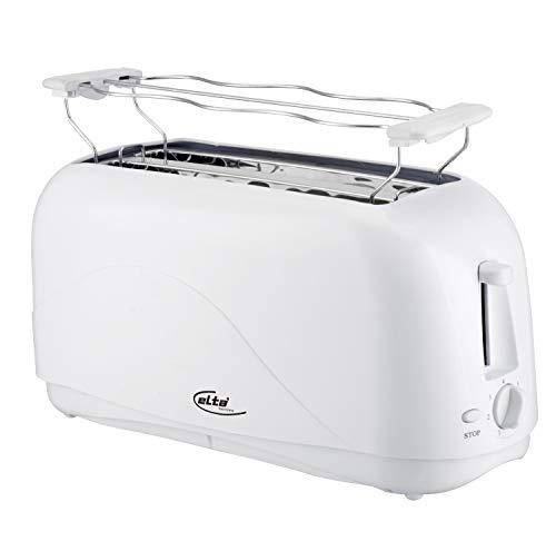 Elta Langschlitz Toaster (Cool Touch, Kunststoff, bis zu 4 Scheiben, 1300W, inklusive Brötchenaufsatz, 7 Heizstufen, weiß), Einheit:Stück, Farbe:weiss