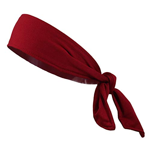 Headbands Tie on Headband for Women Men Running Athletic Hair Head Band Elastic Sports Sweat Basketball Sweatband Stetchy Yoga Workout Sweatbands Adjustable Non-Slip Moisture Wicking (burgundy)