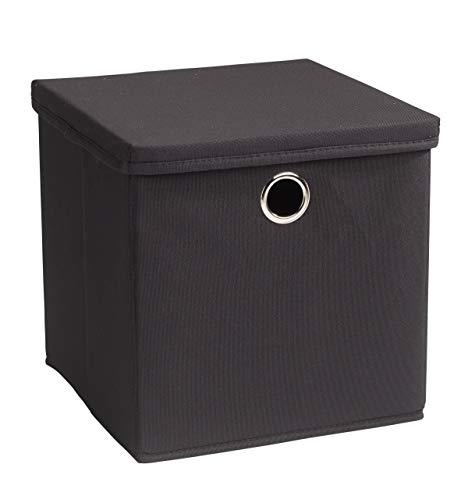 Echtwerk 2 er Set Faltbox Rack Aufbewahrungsbox mit Deckel und Metallöse-Creme, PSD 600 Oxford, anthrazit, 30 x 30 30 cm