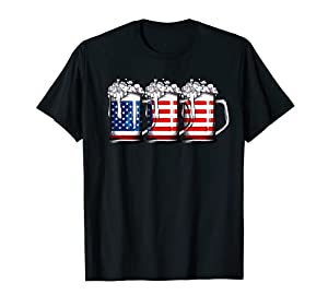 Beer American Flag T shirt 4th of July Men Women Merica USA T-Shirt from Lique Patriotic