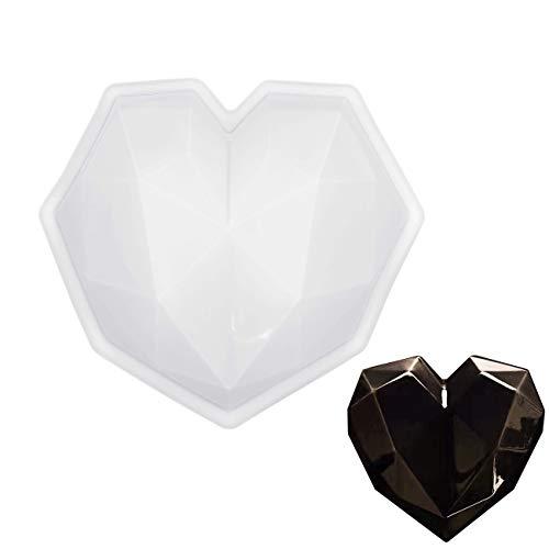 MOTZU Diamond Heart Love Shape Silicone Cake Mold, Silicone Oven Safe Chocolate Mousse Dessert Baking Pan