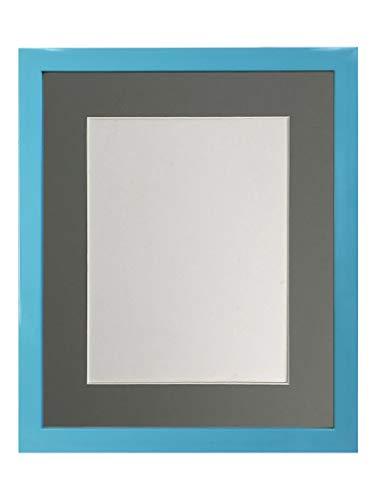 FRAMES BY POST - Cornice portafoto Blu con passepartout Grigio Scuro, Formato A4, 25,4 x 15,2 cm