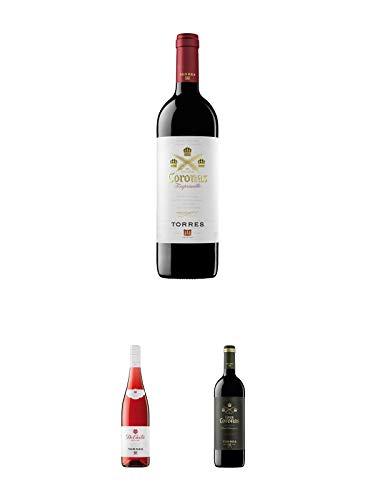 Torres Miguel Spanien CORONAS Rotwein 0,75 Liter + Torres DE CASTA ROSE Wein 0,75 Liter + Torres Miguel Spanien GRAN CORONAS Rotwein 0,75 Liter