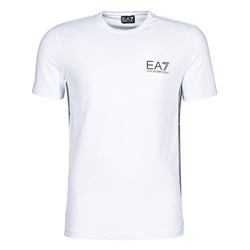 Emporio Armani EA7 Train Logo Series M Tape Tee ST T-Shirts & Poloshirts Herren Weiss - XS - T-Shirts