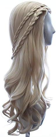 Daenerys Targaryen wig in Game of Thrones Season 7 Long Curly Braided Wig Blonde Cosplay Costume product image
