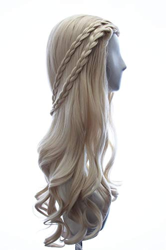 Price comparison product image Daenerys Targaryen wig in Game of Thrones Season 7 Long Curly Braided Wig Blonde Cosplay Costume Hair for Women