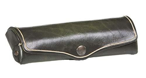 MIKA 28071005 - Brillenetui klein aus Echt Leder/Sattelleder, Etui für Brillen und Sehhilfen, Brillenbox für Damen und Herren, Brillenaufbewahrung in grün, Sonnenbrillenetui ca. 15 x 6 x 3 cm
