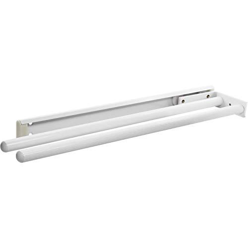 Gedotec Handtuchhalter ausziehbar Handtuch-Auszug HOSTEL | Aluminium weiß beschichtet | Handtuchstange 2-armig | Einbaulänge 443 mm | 1 Stück Geschirrtuchhalter für Schrank Seiten- & Decken-Montage