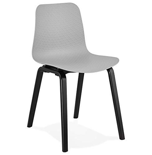 Alterego Chaise Design 'PACIFIK' Grise avec Pieds en Bois Noir