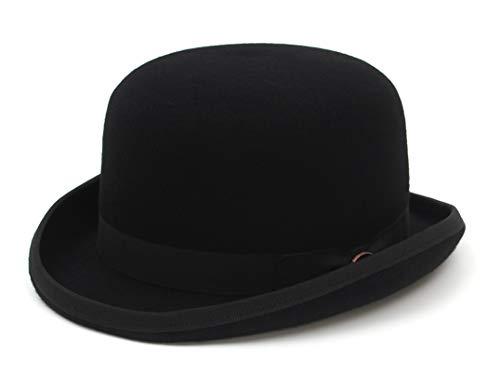 Jelord Sombrero Bombín Clásico Negro Sombrero de Copa Redonda de Lana 100% Sombrero Fieltro Gorras Jazz 4 Tamaños con Forro de Satén (Talla S a XL) Color Negro (Negro, M: Circunferencia 56-58 cm)