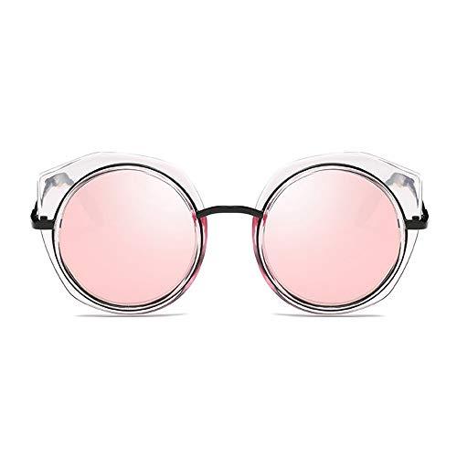 Faus Koco Gafas de sol polarizadas para mujer, marco redondo, protección UV400, marco transparente clásico, color rosa