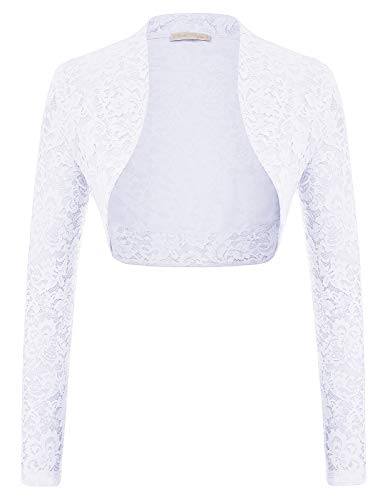 Elegant Sheer Lace Long Sleeve Open Front Bolero for Gowns (White,M)