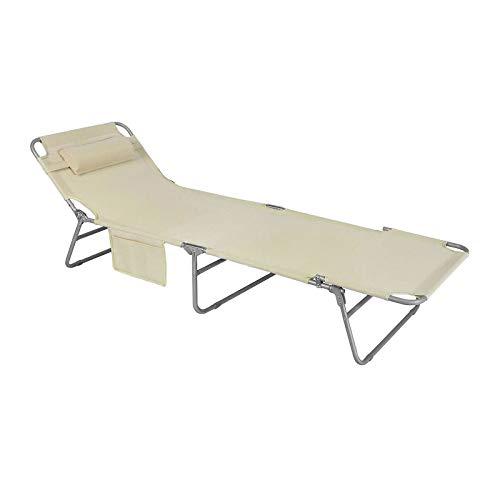 SoBuy OGS35-MI Gartenliege Sonnenliege Relaxliege mit Seitentasche Liegestuhl klappbar Strandliege