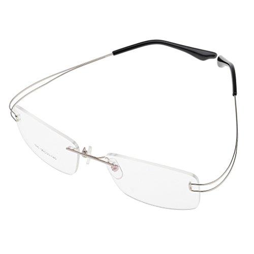 MagiDeal Brillenfassung Randlos Memory Metall Brillengestell, Ultraleicht, elegantes Design - Silbrig