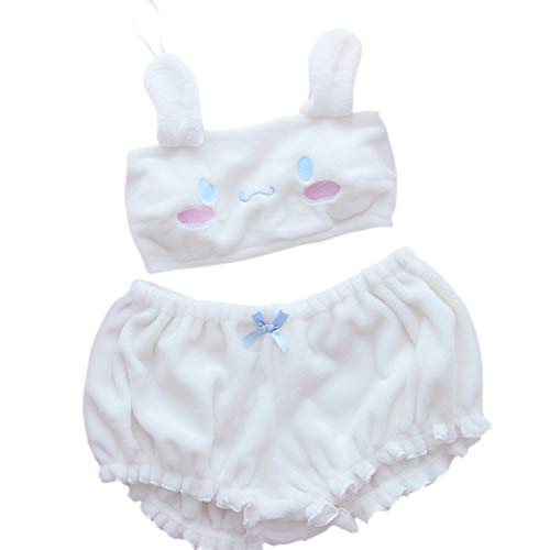 My Melody Cosplay Kostüm BH Anime Melody Kuromi Samt Set mit Bloomers Cute Loli - Wei� - Small