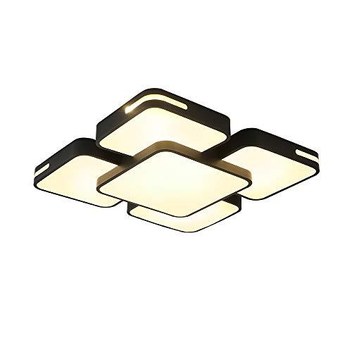 HENGMEI 48W Deckenleuchte LED Deckenlampe Warmweiß Wohnraumleuchte Acryl Küchenlampe für Wohnzimmer Schlafzimmer, Schwarzer Rahmen (Warmweiß, 48W)