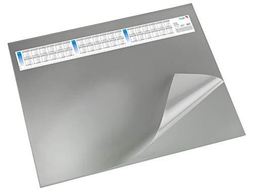 Läufer 44653 Durella DS Schreibtischunterlage mit transparenter Auflage und Kalender, rutschfeste Schreibunterlage, verschiedene Farben, 52 x 65cm, grau