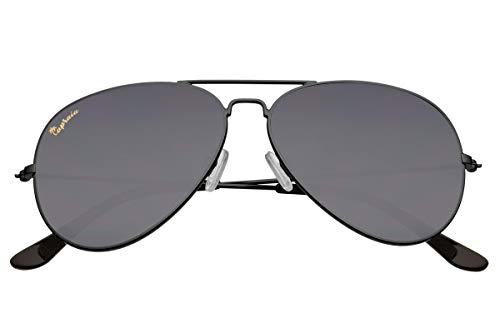 Capraia Nasco Estilosas Piloto Gafas de Sol Montura Metálica Negra y Lentes Oscuras Polarizadas protección UV400 Hombres Mujeres