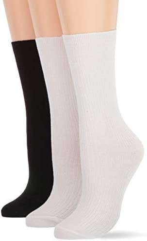 HUE Women s Relaxed Top Crew Socks 3 Pair Pack White Black Pk one size product image