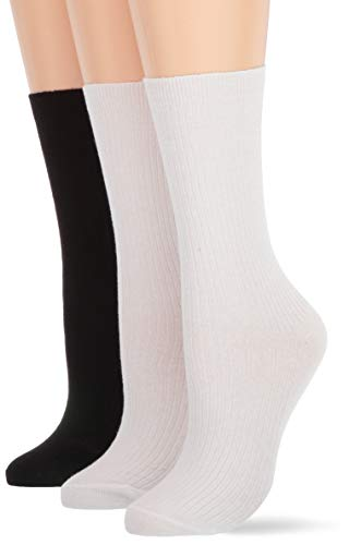 HUE Women's Relaxed Top Sock 3 Pair Pack, White/Black Pk, one size