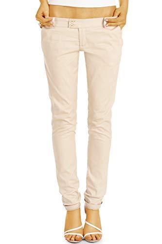 bestyledberlin BE Styled Damen Chinos - Stoffhosen, röhrige hüftige Passform, mit Stretch h15a 36/S beige