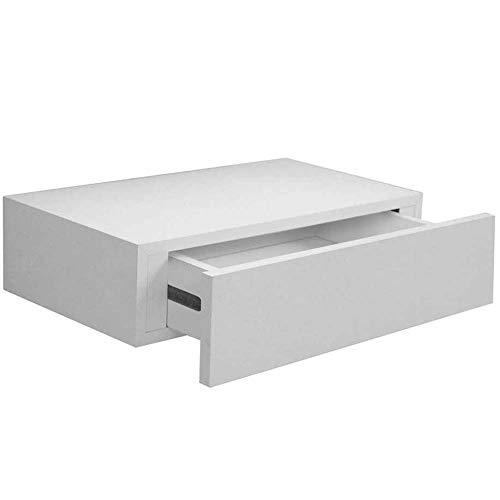 BAKAJI - Estante con cajón para colgar de la pared, fabricado con tablero de fibra de densidad media (DM), diseño moderno escandinavo, 40 x 24 x 10 cm (blanco)