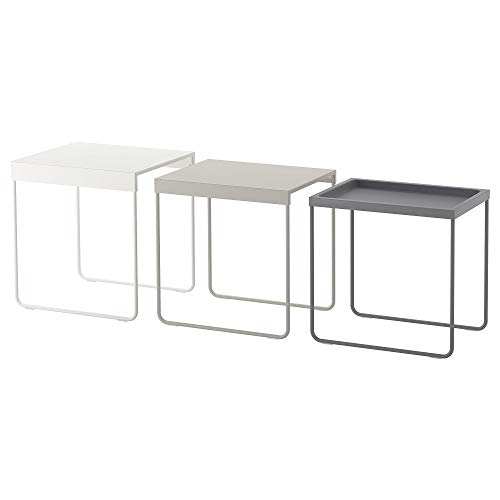 IKEA/イケアGRANBODA:ネストテーブル3点セットホワイト/ライトグレー/グレー(703.866.83)
