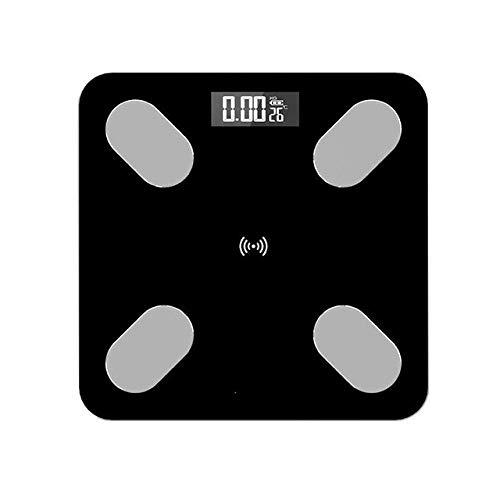 LQH Waage Personenwaage, Körperfettwaage, Boden Scientific Smart Electronic LED Digital Gewicht-Balance, Bluetooth App Max 180kg, Schwarz