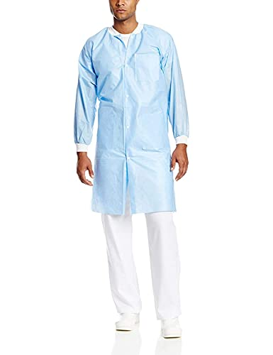 ValuMax 3560MBS Easy Breathe Cool and Strong, No-Wrinkle, Professional Disposable SMS Knee Length Lab Coat, Medical Blue, S, Pack of 10
