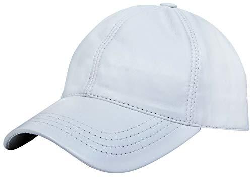 Men's and Women's Real Nappa Leather White Adjustable Golf Snapback Plain Baseball Cap