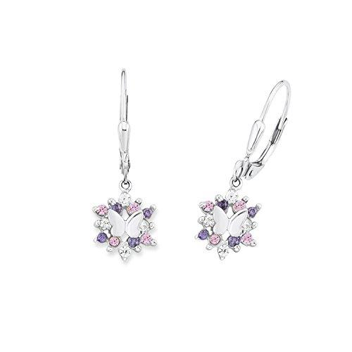 Prinzessin Lillifee Kinder-Ohrhänger Mädchen Schmetterlinge 925 Silber rhodiniert Zirkonia mehrfarbig - 566766, 9245703, Einheitsgröße