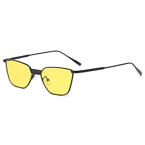 Único Gafas de Sol Sunglasses Retro Polygon Gafas De Sol Hombres Mujeres Lujo Amarillo Lente Negro Gafas De Sol Cuadrada