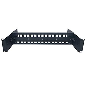 E-link 2U 19inch Adjustable Rack Mount Din Rail Chassis 35mm 19  Rackmount Din Rail Bracket Easiest Way to Install Din Rail Mount Devices Like Industrial Media Converter in Cabine Black