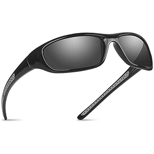 Gafas de sol deportivas polarizadas con protección UV400 para hombre y mujer, ciclismo, golf, correr, pesca, gafas de sol VI367 (BlackFrameWithBlackLens)