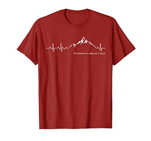 The Mountains are calling and I must go heart beat tshirt