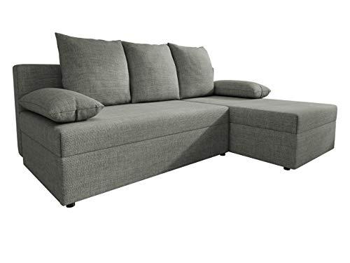 Ecksofa Salub, Eckcouch mit Schlaffunktion und Bettkasten für Wohnzimmer, L-Form Sofa, Seite Universal, Bettfunktion, Couch, Wohnlandschaft (Lux 05)