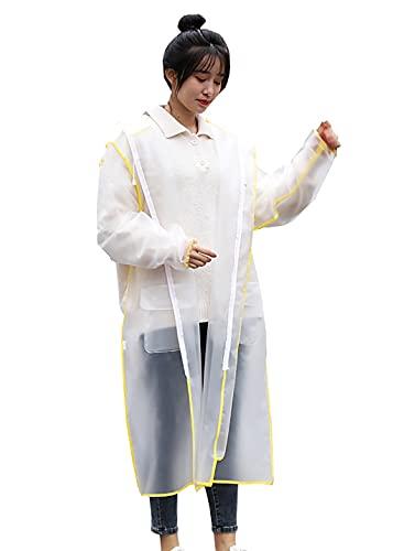 KCLONAZS Transparente Chubasquero Impermeable Reusable Ripstop y Transpirante Espejo facial Poncho de Lluvia para Mujer con Capucha y Mangas Largo (Color : Amarillo, Tamaño : L)