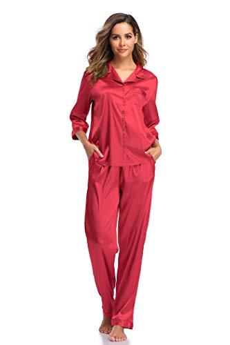 SHEKINI Damen Klassische Zweiteiliger Schlafanzug mit Hose mit Gummibund am Einfarbige Nachthemd Satin Nachtwäsche Knöpfen Pyjama Sleepwear(Stil 3 Pyjamas Set-Weinrot,M)
